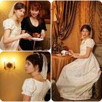 Бальное платье,  молочный с нежно-зелёным шёлк. Размер: 42-44, рост: 167-172, прокат - 3500