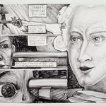 "James meets Lafayette, 2011, 9"" x 12"", graphite on paper"