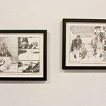 "Framed 9"" x 12"", graphic novel drawings, installation view"