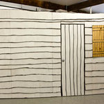 James' cabin, 9' x 16',  permanent ink and paint on hand cut plywood panels with single channel video insert, 2010-13
