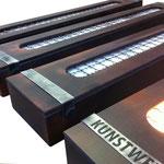 säulenlampen industrielook für eine eventhalle