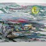 Ölmeer I, 2016, 25 x 35 cm, Öl und Lack auf Büttenpapier