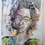 Nina, 2016, 37 x 28 cm, Aquarell und Lack auf Büttenpapier