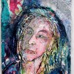 Birgit, 2016, 37 x 28 cm, Aquarell und Lack auf Büttenpapier