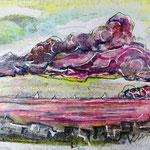 Ostseeseele, 2014, 38 x 55 cm, Lack und Aquarell auf Büttenpapier