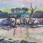 Insel der toten Vögel, 2013, 38 x 55 cm, Lack und Aquarell auf Büttenpapier