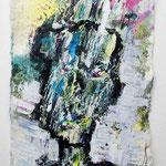 Ölkopf V, 2016, 15 x 10 cm, Öl und Lack auf Büttenpapier