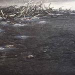Sturm im Ölmeer, 2014, 120 x 180 cm, Ölharz und Lack auf Leinwand, Übermalung