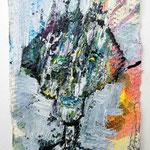 Ölkopf VI, 2016, 15 x 10 cm, Öl und Lack auf Büttenpapier