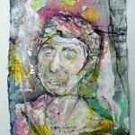 Britta, 2016, 37 x 28 cm, Aquarell und Lack auf Büttenpapier