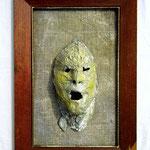 Homo pasticus II, 2017, 68 x 47 cm, Alufolie / Rupfen / Bilderrahmen