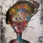 """Wesensportrait """"Hui Buh"""", 2013, 18 x 13 cm, Lack und Aquarell auf Büttenpapier"""