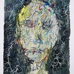 Homo plasticus I, 2017, 30 x 20 cm, Öl und Lack auf Büttenpapier