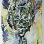 Ölkopf III, 2016, 30 x 20 cm, Öl und Lack auf Büttenpapier