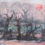 Insel der toten Vögel, 2013, 40 x 56 cm, Lack und Aquarell auf Aquarellpapier