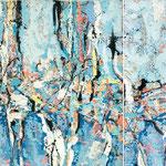 Blauer Regen auf sich küssende Fische, 2004, zweiteilig, 90 x 200 cm, Ölharz und Lack auf Leinwand