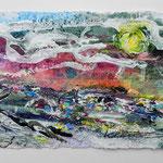 Ölmeer IV, 2016, 19 x 39  cm, Öl und Lack auf Büttenpapier