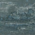 Nächtliches Gewitter über dem Wasser, 2008, 90 x 140 cm, Ölharz und Lack auf Leinwand