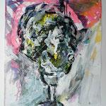 Ölkopf I, 2016, 40 x 30 cm, Öl und Lack auf Büttenpapier