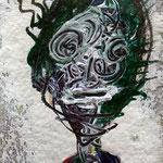 Wesensportrait, 2013, 15 x 10 cm, Lack und Aquarell auf Büttenpapier