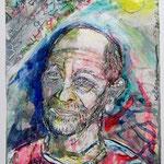 Alfons Tuschen, 2016, 37 x 28 cm, Aquarell und Lack auf Büttenpapier