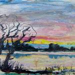 Alte Eichen, 2013, 40 x 56, Lack und Aquarell auf Aquarellpapier