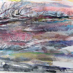 Abendrot am Ölmeer, 2014, 40 x 56 cm, Lack und Aquarell auf Aquarellpapier