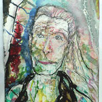 Frau Worthmann, 2016, 40 x 30 cm, Aquarell und Lack auf Büttenpapier