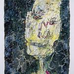 Homo plasticus II, 2017, 30 x 20 cm, Öl und Lack auf Büttenpapier