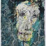 Homo plasticus IV, 2017, 30 x 20 cm, Öl und Lack auf Büttenpapier