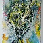 Ölkopf II, 2016, 30 x 20 cm, Öl und Lack auf Büttenpapier