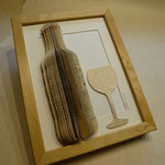 Weinflasche und Glas  - Buchobjekt - Bild