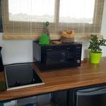 Mesada de cocina de cabaña esmeralda, con tapa de madera y patas de hierro, anafe electrico vitroceramico y pileta de lavar con escurridor de platos