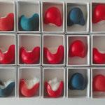 lot de nez rouge satin, bleu, rouge mat