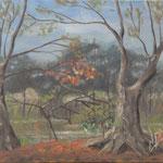 風景 Paysage   31.8×41cm カンバスに油彩  l'huile sur toile   1996