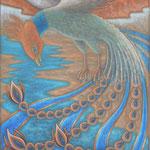 鳳凰 Fenghuang  92×73cm カンバスに油彩  l'huile sur toile  2014