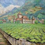 ぶどう畑 Vigne  Trento   Italie   45.5×53cm カンバスに油彩  l'huile sur toile   1999