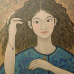 カールヘアー Cheveux frisées 46×38cm カンバスに油彩 l'huile sur toile  2019