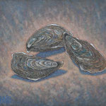 牡蠣みっつ Les huîtres  38×46cm カンバスに油彩 l'huile sur toile  2017