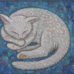 眠り猫 Chat dors  24×33cm カンバスに油彩 l'huile sur toile  2018