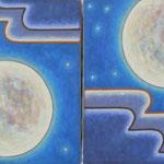 ブルームーン Blue moon  35×27cm×2 カンバスに油彩 l'huile sur toile