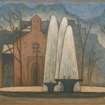 噴水 ヴィクトルユゴー広場 Fontaine de place Victor Hugo  65×81cm カンバスに油彩  l'huile sur toile  2004