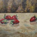 苺 Fraises   24.2×33.3cm カンバスに油彩  l'huile sur toile   2001