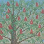 Marronnier en fleurs  46×61cm  l'huile sur toile  2014