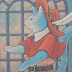 長靴を履いた猫 Le Chat botté  61×50cm カンバスに油彩 l'huile sur toile  2013