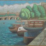 セーヌ川岸 Quai de la Seine  54×65cm  カンバスに油彩 l'huile sur toile  2008