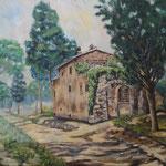 アッピア旧街道 Voie Appienne (Via Appia)  Rome  Italie   53×65.2cm  カンバスに油彩 l'huile sur toile   1999