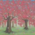 さくら 花弁 Les Pétales du Cerisier 38×46cm カンバスに油彩 l'huile sur toile 2013