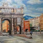 インスブルック凱旋門 Innsbruck  Autriche   72.7×91cm カンバスに油彩  l'huile sur toile   1996
