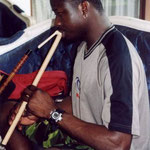 Mamadou, trying the suling